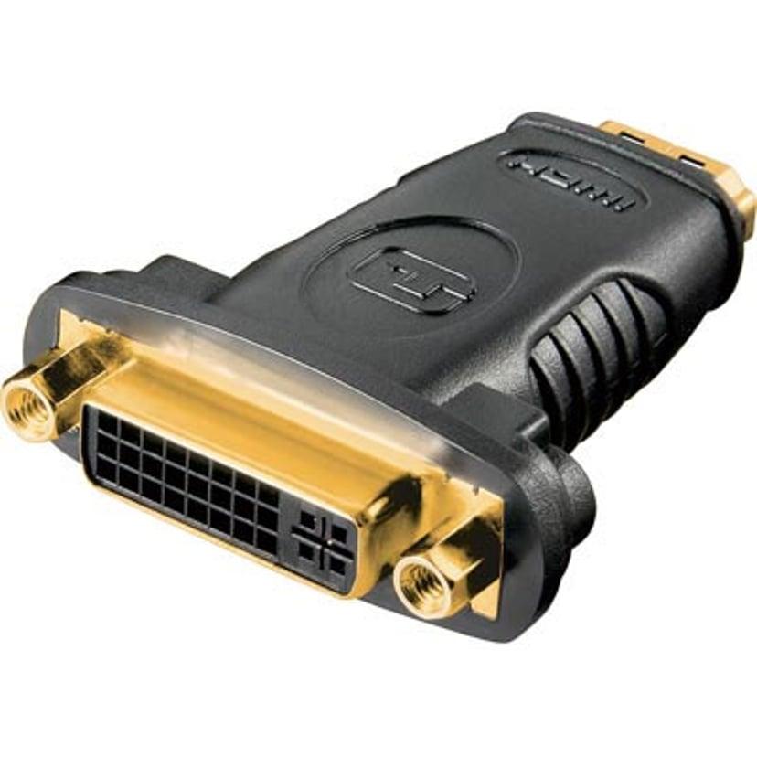 Deltaco Adapter DVI-D - HDMI Gold 19 nastan HDMI Tyyppi A Naaras 24+5-nastainen yhdistetty DVI Naaras