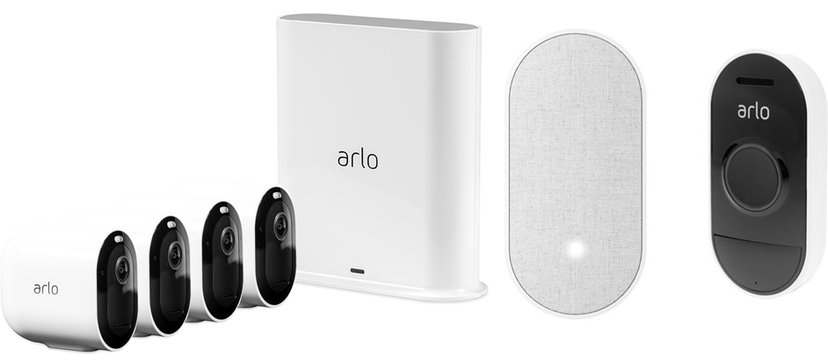 Arlo Pro 3 4-Pack + Doorbell + Chime Bundle