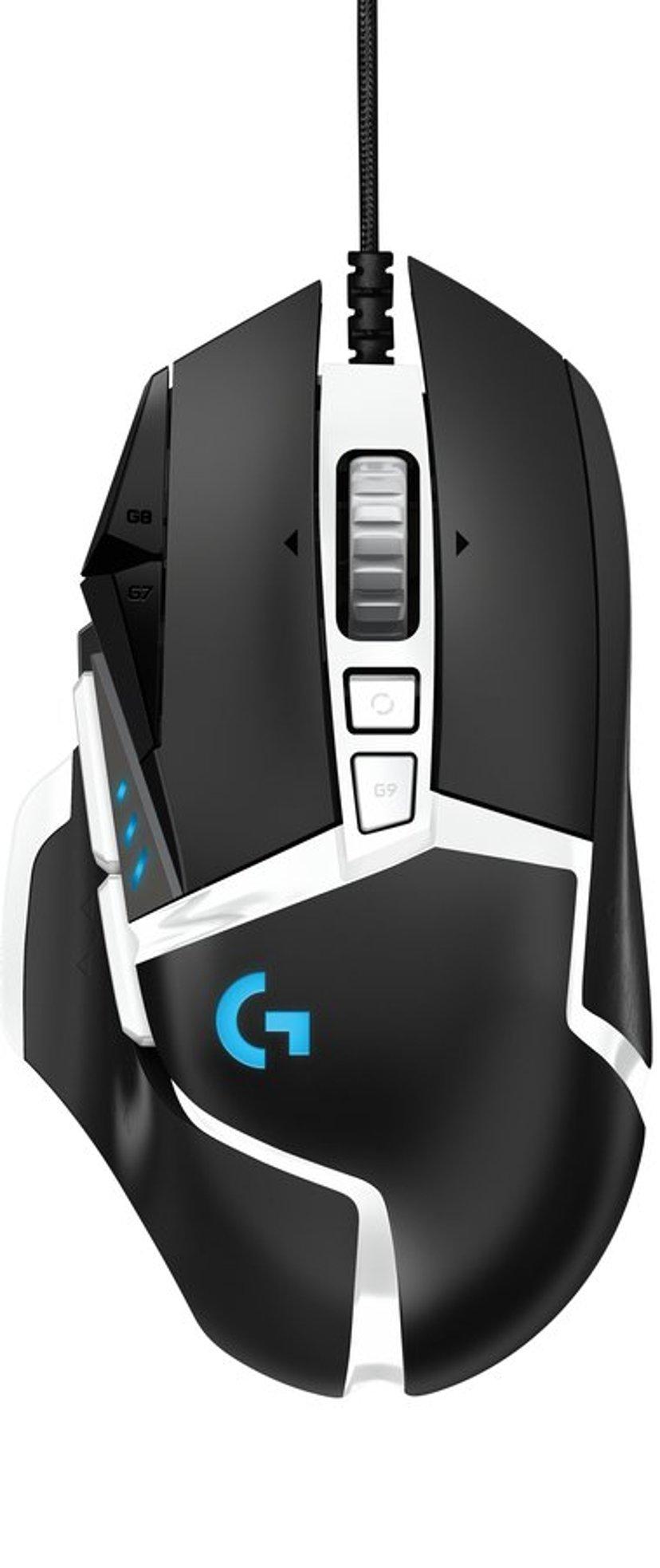 Logitech Gaming Mouse G502 (Hero) 16,000dpi Mus Kabelansluten Svart; Vit