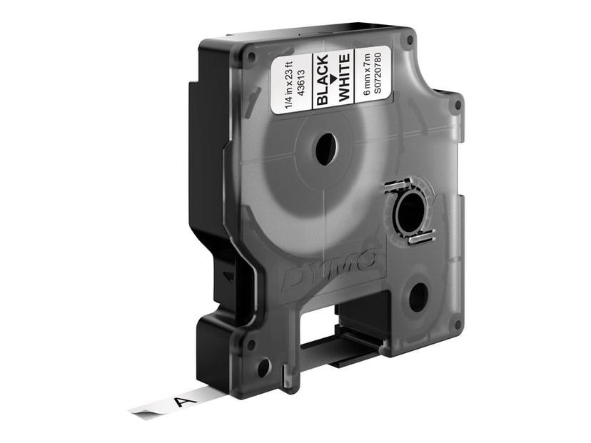 Dymo Tape D1 6mm Sort/Hvid