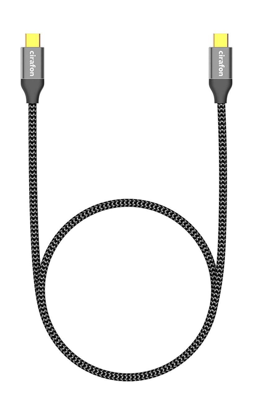 Cirafon USB 3.1 Type C-C Male-Male 1m Black (60W) 1.2m 24-stifts USB-C Hane 24-stifts USB-C Hane