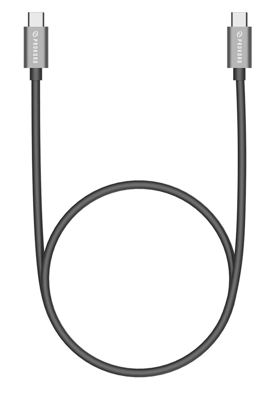 Prokord USB-C kabel USB certified (100W) 1m 24-stifts USB-C Hane 24-stifts USB-C Hane