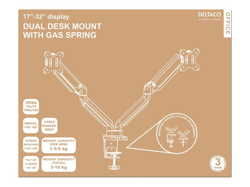 "Deltaco Fäste Dual Desk Gas Spring 17-32"" 1,5-8kg Med 75x75/100x100 VESA"