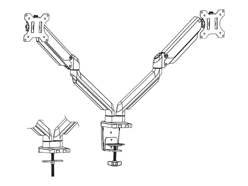"Deltaco Kiinnike Dual Desk Gas Spring 17-32"" 1,5-8kg, jossa on 75x75/100x100 VESA"