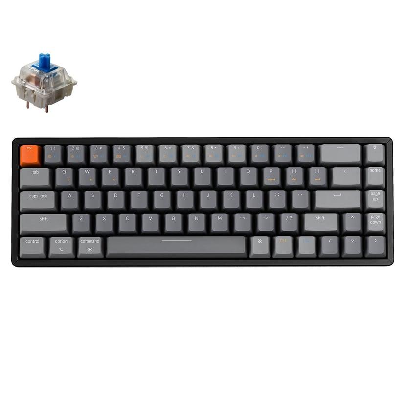 Keychron K6 Blue RGB Kabelansluten; Trådlös Tangentbord Nordiska länderna Grå; Svart