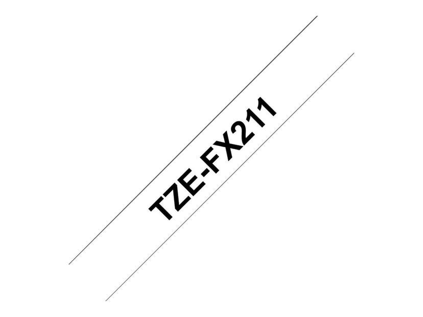 Brother Tape TZE-FX211 6mm Sort/Hvid Flexible