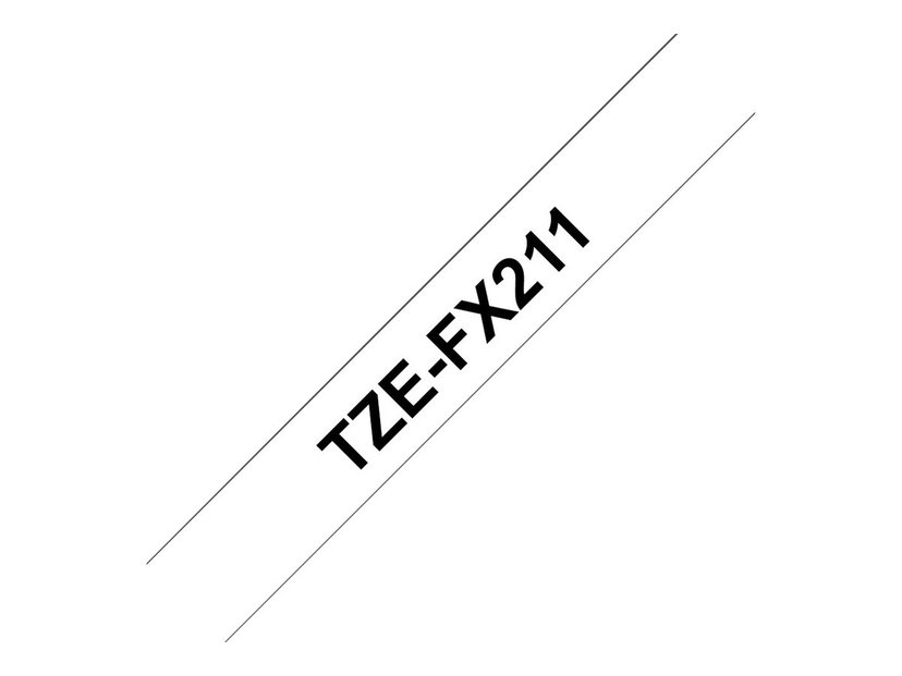 Brother Tape TZE-FX211 6mm Svart/Vit Flexible