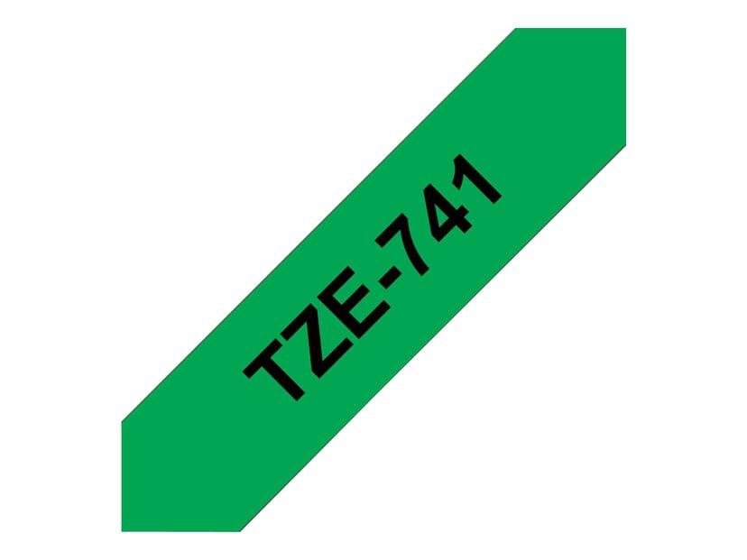 Brother Tape TZe-741 18mm Svart/Grön