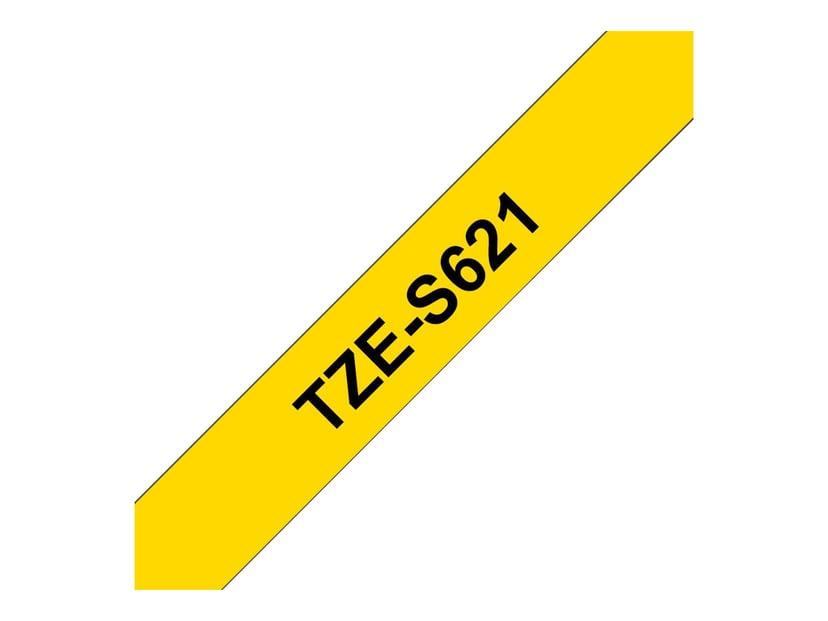 Brother Tape TZe-S621 9mm Svart/Gul Extra Stark