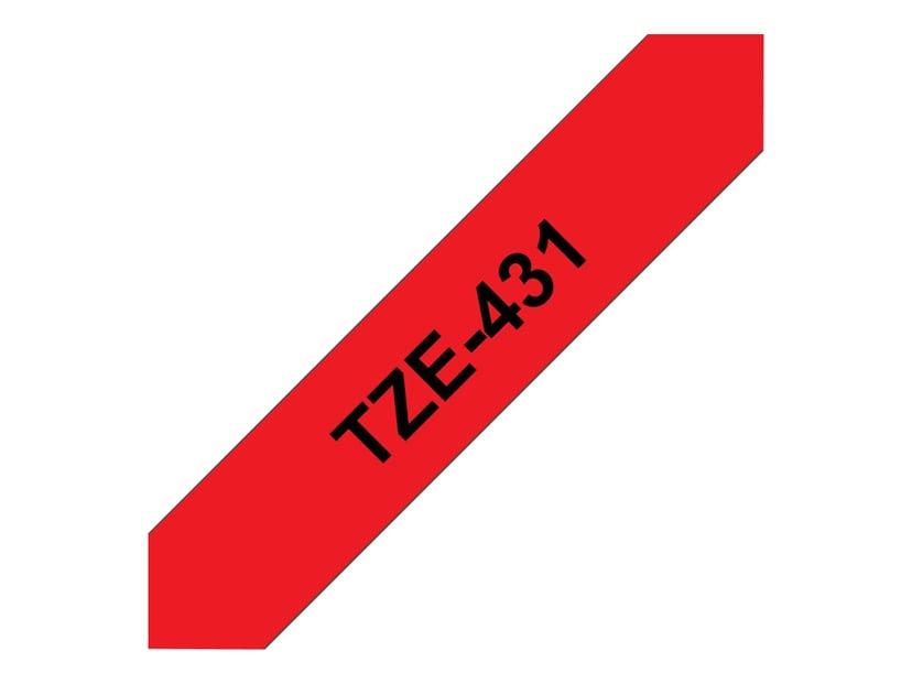 Brother Tape TZE-431 12mm Sort/Röd