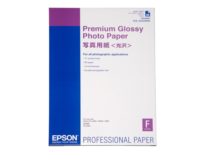 Epson Papir Photo Prem Glossy A2 25 Ark 225g