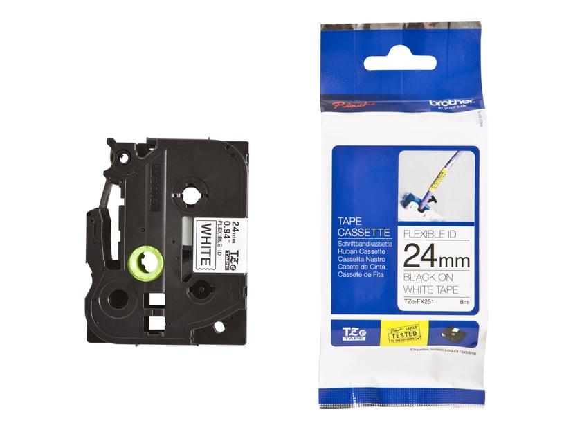 Brother Tape TZE-FX251 24mm Svart/Hvit Flexible
