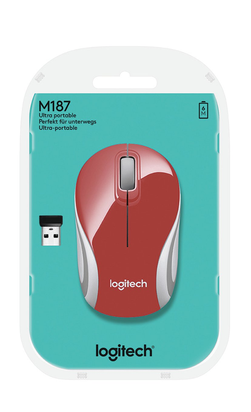 Logitech M187 Röd; Vit Mus Trådlös