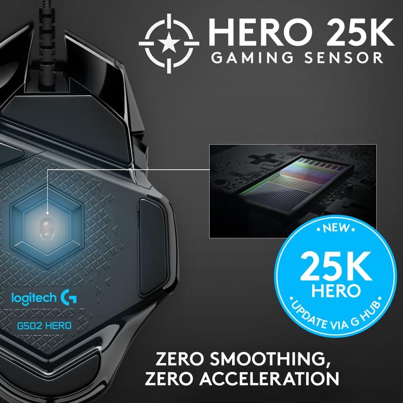 Logitech G502 (Hero) Sort Mus Kabling 16,000dpi