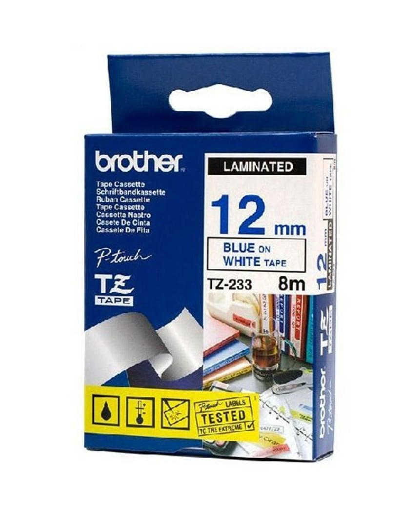 Brother Tape TZe-233 12mm Blå/Vit