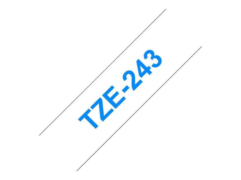 Brother Tape TZE-243 18mm Blå/Hvid
