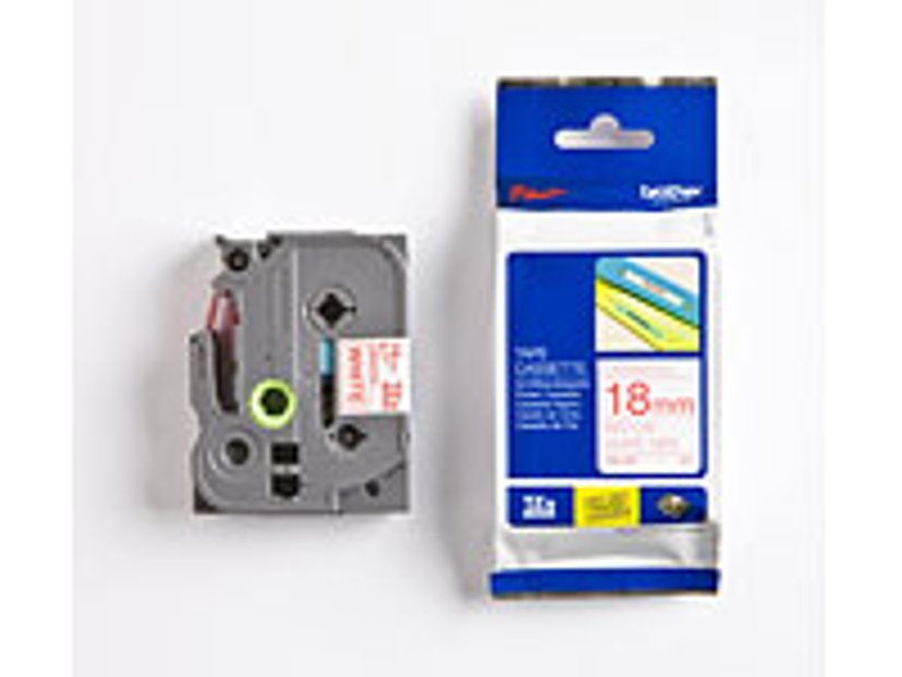 Brother Tape TZE242 18mm Röd/Hvit