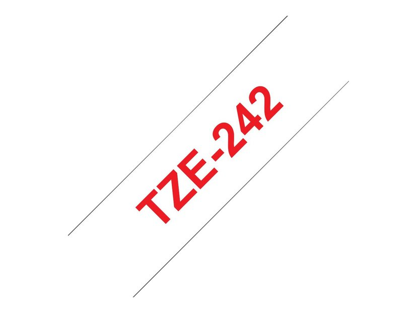 Brother Tape TZE242 18mm Röd/Hvid