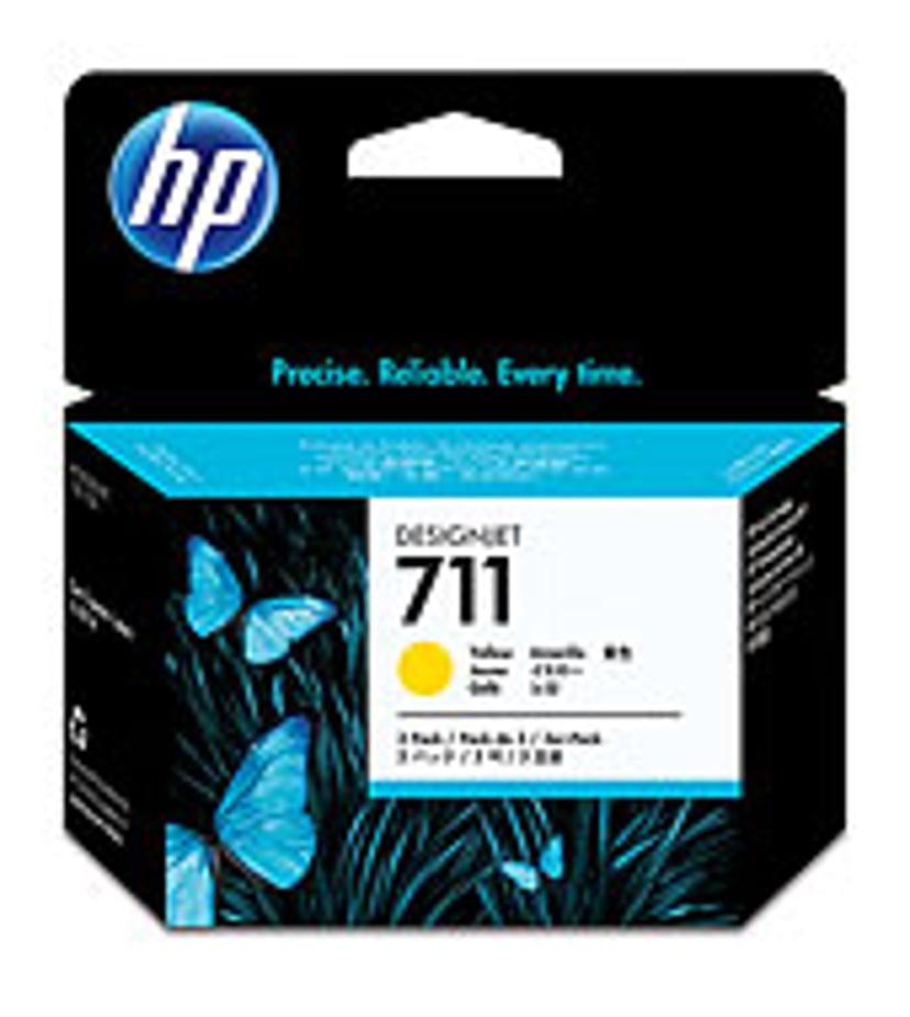 HP Blekk Gul 711, 29ml - DJ T120 - 3-PACK