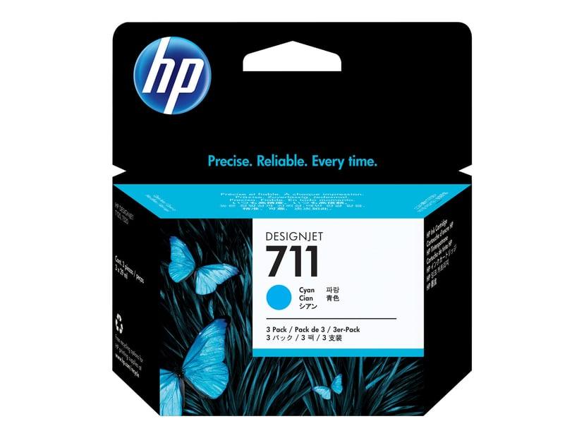 HP Blæk Cyan 711, 29ml - DJ T120 - 3-PACK