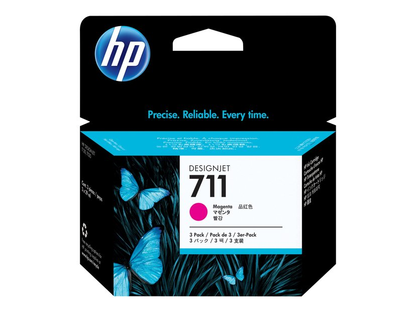 HP Muste Magenta 711, 29ml - DJ T120 - 3-PACK