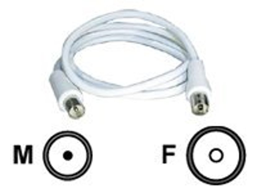 Deltaco Antennekabel 1m IEC-forbindelse Han IEC-forbindelse Hun