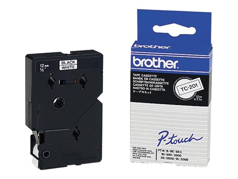 Brother Tape TC-201 12mm Svart/Hvit
