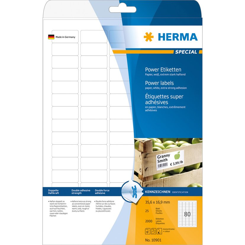 Herma Labels Power 35,6x16,9mm A4 25 Sheet