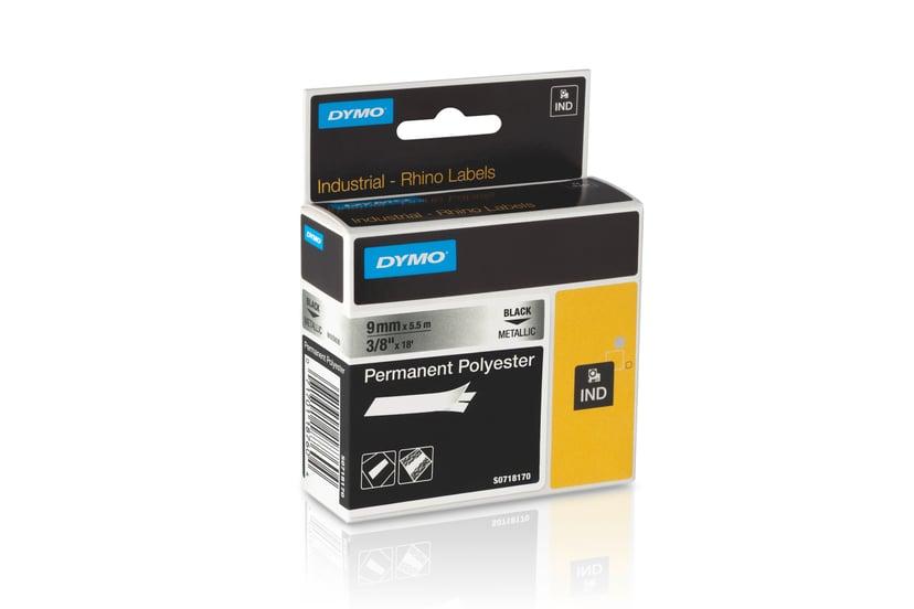 Dymo Tape RhinoPRO Perm Polyester 9mm Sort/Metallic