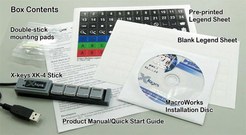 Direktronik XKeys Xk4 USB Stick Keys With 4 Programmable Keys Tangentsats Kabelansluten