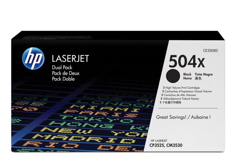 HP Toner Svart 504X - CE250XD 2-Pack