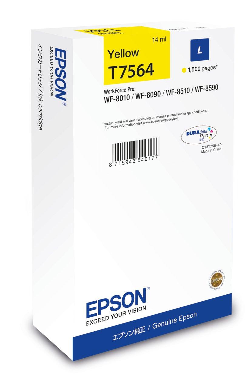 Epson Blæk Gul T7564 1,5K - WF-8010/8090/8510/8590