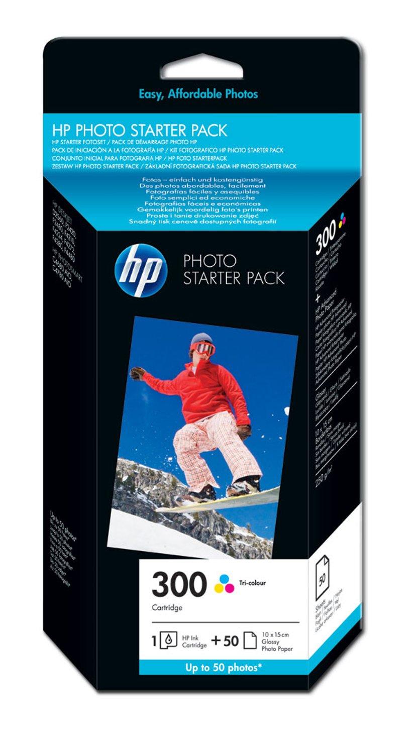 HP Blekk Foto Pack 300-Series (C/M/Y) + 10x15CM 50 Sheets