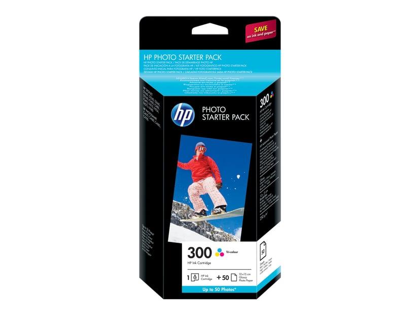 HP Blæk Foto Pack 300-Series (C/M/Y) + 10x15CM 50 Sheets