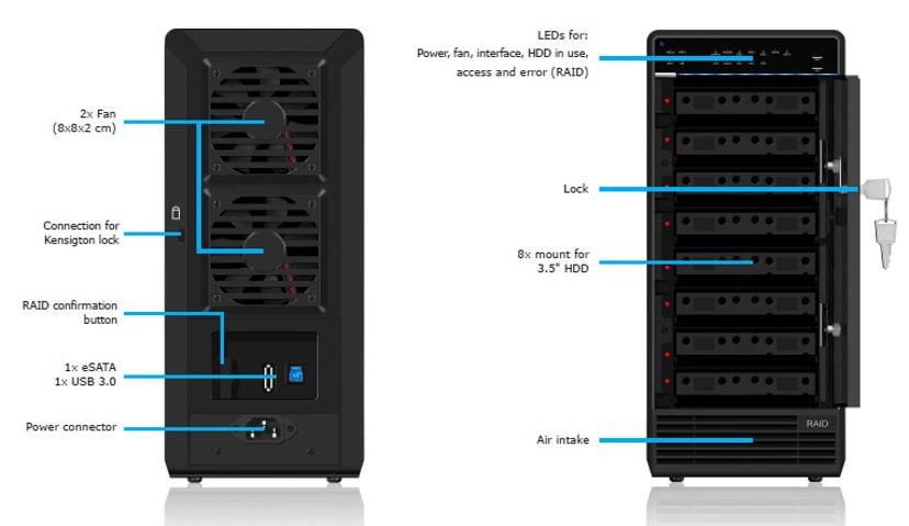 """Raidsonic 3.5"""" Cabinet 8 X SATA USB 3.0/E-SATA"""
