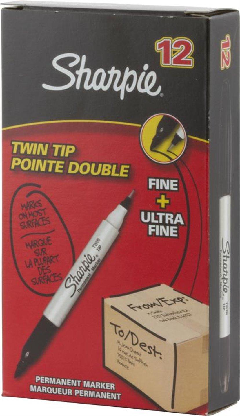 Sharpie Twin Tip Permanent Marker Svart TUCK 12-Pack