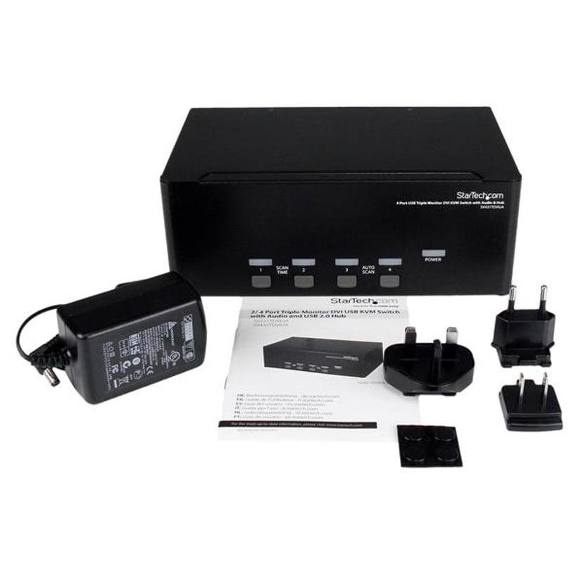 Startech 4 Port Triple Monitor DVI USB KVM Switch With Audio & USB 2.0 Hub