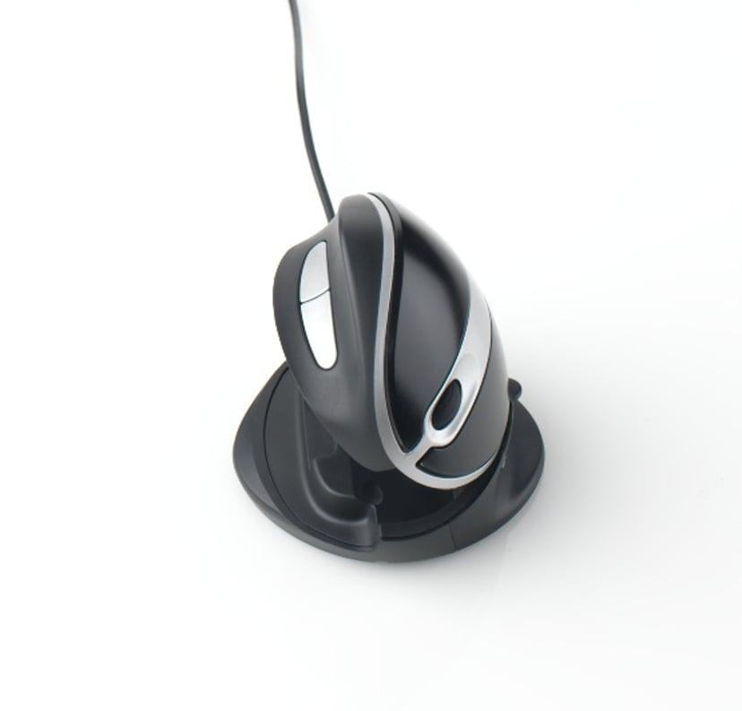 Ergoption Oyster Mouse Large Wired 1,200dpi Mus Kabelansluten Silver; Svart