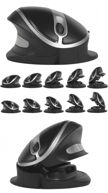 Ergoption Oyster Mouse Large Wired Svart; Sølv Mus Kablet 1,200dpi