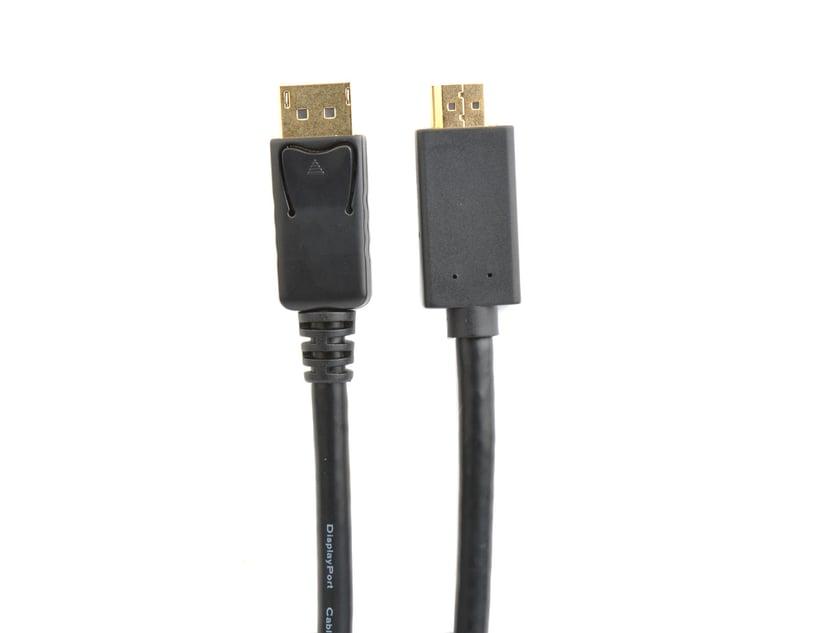 Prokord Displayport til HDMI 2M svart - gullbelagt DisplayPort Hann HDMI Hann 2m