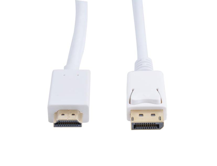 Prokord Displayport til HDMI 3M Hvid - Guldbelagt 3m DisplayPort Han HDMI Han