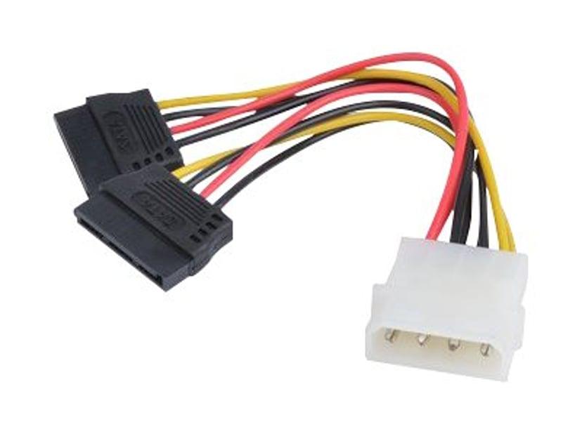 Prokord Strømkabel 0.1m 4-pin intern strøm Hunn 15-pins seriell ATA-strøm Hann