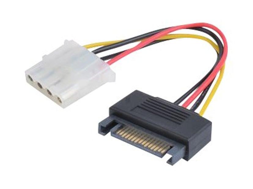 Prokord Strømforsyningsadapter 4-PIN intern strøm Hun 15 pin Serial ATA strøm Han