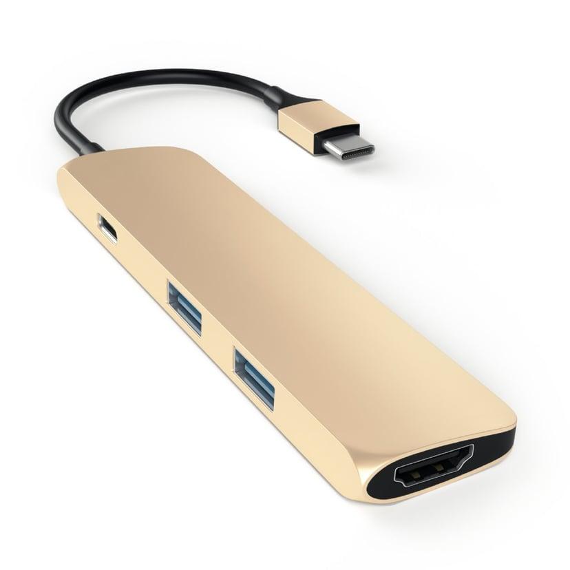 Satechi USB-C MultiPorts-adapter - Gold USB-C Mini-dockningsenhet