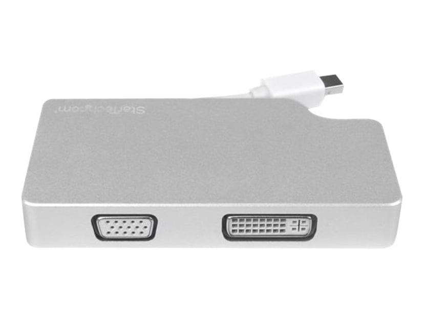Startech Travel A/V Adapter 3-in-1 Mini DisplayPort Hann 15-stifts HD D-Sub (HD-15), 19 pin HDMI Type A, 24+1 pin digital DVI Hunn Sølv