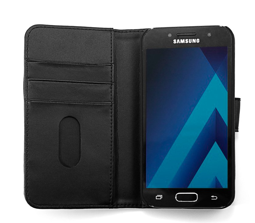 Cirafon Genuine Leather Wallet Samsung Galaxy A3 (2017) Gøy svart, Svart lær
