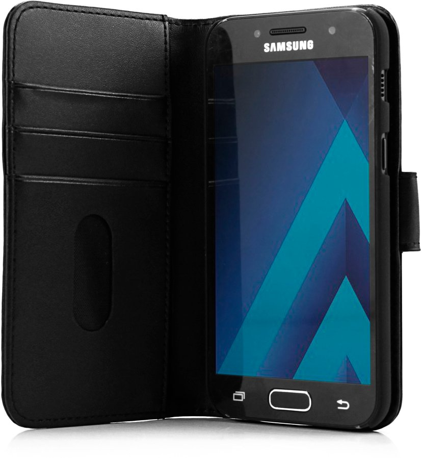 Cirafon Genuine Leather Wallet Samsung Galaxy A3 (2017) Gøy svart; Svart lær