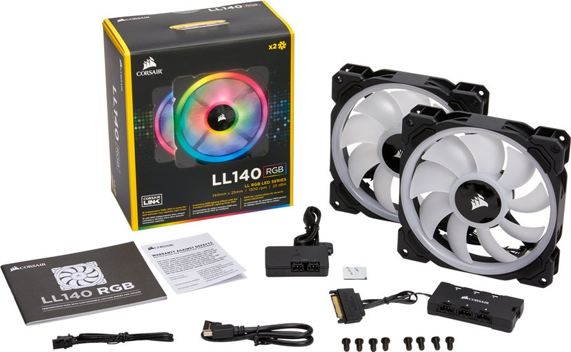 Corsair LL140 RGB Double Pack + Lighting Node PRO 140 mm