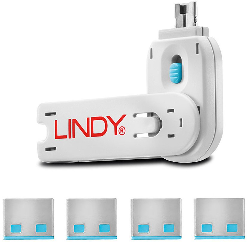 Lindy Port Blocker USB Blå 4-pack