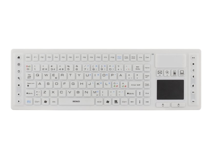 Deltaco TB-507 silikon IP65 touchpad Tangentbord Trådlös Vit